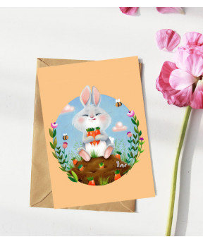 Carte postale «Lapin fond...