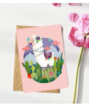 Carte postale «Lama fond rose»