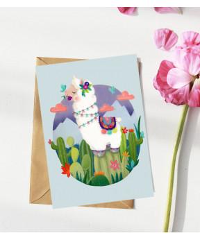 Carte postale «Lama fond bleu»