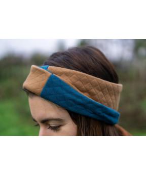 Headband réversible bleu...