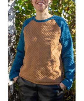 Sweat-shirt marron / bleu...