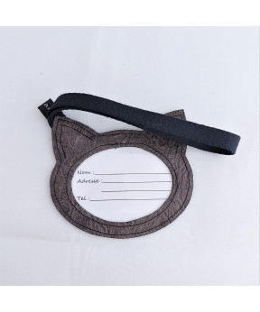 Étiquette bagage chat en cuir