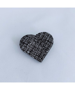 Broche cœur en cuir noir et...