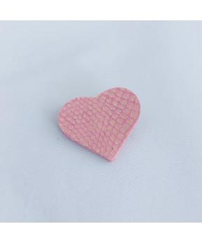 Broche cœur en cuir rose...