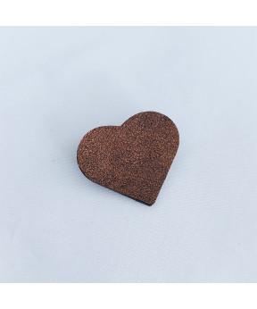 Broche cœur en cuir bronze