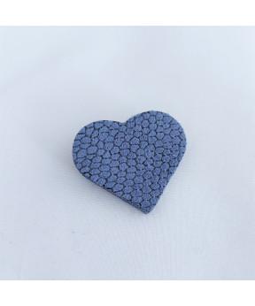 Broche cœur en cuir bleu...
