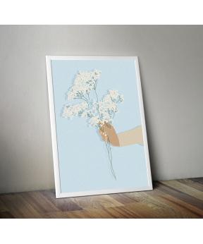 Affiche A4 Main et fleurs