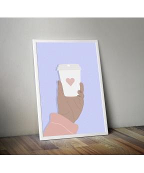 Affiche A4 Mug coeur