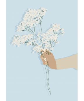 Carte postale Main et fleurs