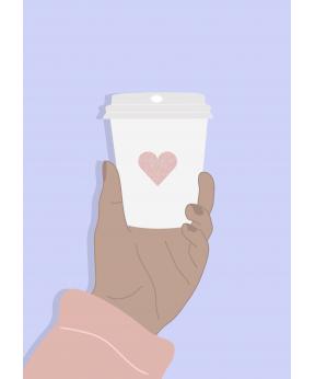 Carte postale Mug et coeur