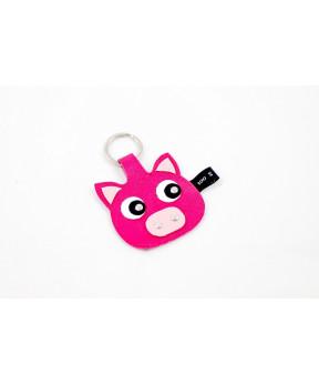 Porte clé cochon en cuir rose